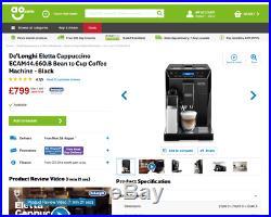 £995 Delonghi Eletta Cappuccino Latte Espresso Bean To Cup Coffee Tea Machine