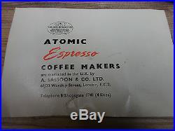 ATOMIC COFFEE MACHINE RARE VINTAGE 1950'S SASSOON & CO CAPUCCINO ESPRESSO