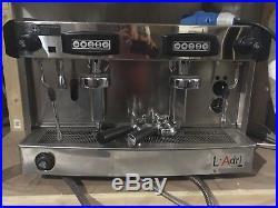 Barista 2 group espresso coffee machine, silver, L'berital L'adri, milk steamer