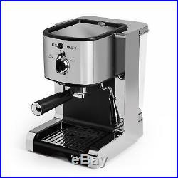 Espresso Coffee Machine Cappuccino Electric 6 Hot Cups Maker 20 Bar 1350W Silver