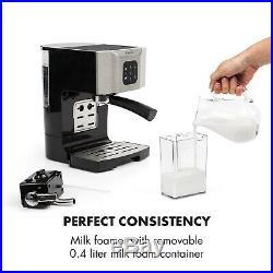 Espresso Coffee Machine Office Home Electric 1450 W 20 Bar Milk Frother Grey