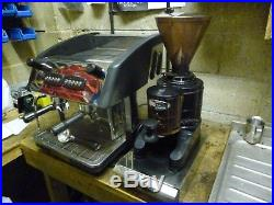 Expobar 2 group compact espresso system with iberital 1 kilo grinder and knockbo