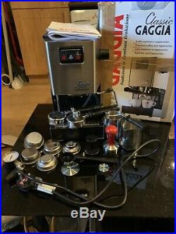 Gaggia Classic Espresso Coffee Machine Brushed Steel with modded Steam Wand