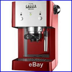 Gaggia Gran Deluxe Manual Espresso Coffee Machine 15 Bar, Red and Silver