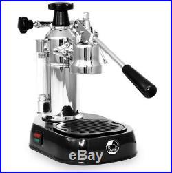 La Pavoni Europiccola Chrome Black Base Lever Coffee Machine boxed