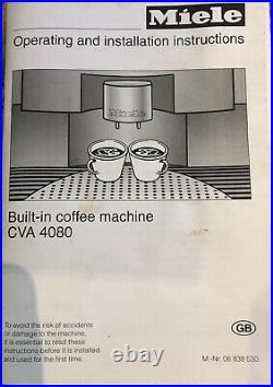 Miele CVA4080 Bean to Cup Integrated Automatic Coffee Machine Auto Cappuccino