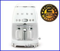 Smeg DCF02WHUK White 50s Retro Style Filter Coffee Machine + 2 Year Warranty