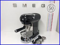 Smeg ECF01BLUK 50's Retro Black Espresso Coffee Machine, Box Damaged Return