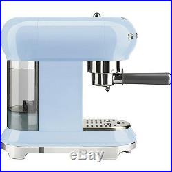Smeg ECF01PBUK Pastel Blue Retro Style Espresso Coffee Machine 2 Year Guarantee