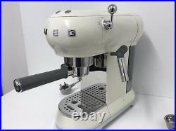 Smeg Espresso Coffee Machine 50's Retro Cream- ECF01CRUK -Return-30 Day Warranty