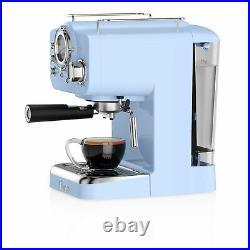Swan Retro Pump Espresso Coffee Machine 15 Bar Pressure 1.2L Milk Frother 1100W