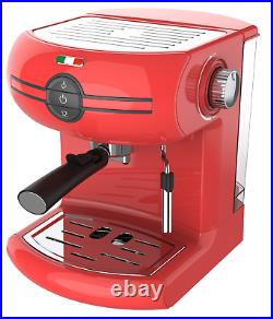 Vintage Traditional Pump Espresso Coffee Machine Manual Cappuccino Latte Red