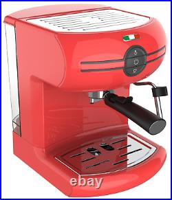 Vintage Traditional Pump Espresso Coffee Machine Manual Cappuccino Latte Red
